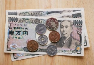 Japanese yen bill and coins